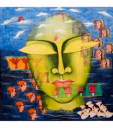 Deepali Mundra | Acrylic Painting title Shivohum 4 on Canvas | Artist Deepali Mundra Gallery | ArtZolo.com