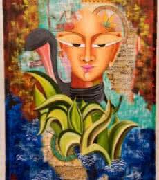 Figurative Acrylic Art Painting title 'Shivohum 2' by artist Deepali Mundra