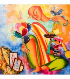 Figurative Acrylic Art Painting title 'Dream merchant' by artist Deepali Mundra