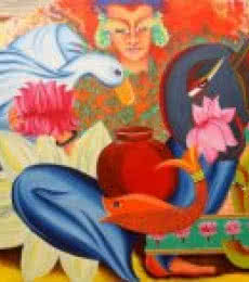 Figurative Acrylic Art Painting title Composition on mahalakshmi by artist Deepali Mundra