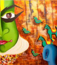 Deepali Mundra | Acrylic Painting title Me & the mask on Canvas | Artist Deepali Mundra Gallery | ArtZolo.com