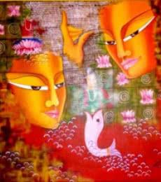 Shivohum 24 x 24in.acrylic & oil on | Painting by artist Deepali Mundra | acrylic | Canvas