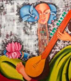 Figurative Acrylic Art Painting title 'Inception' by artist Deepali Mundra