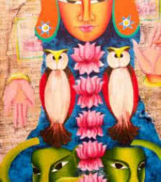 Figurative Acrylic Art Painting title 'Mahalakshmi' by artist Deepali Mundra