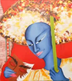 Deepali Mundra | Acrylic Painting title Man With Mask on Canvas | Artist Deepali Mundra Gallery | ArtZolo.com