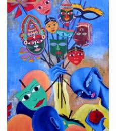 Mukhote  | Painting by artist Deepali Mundra | acrylic | Canvas