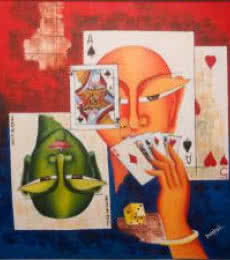 Figurative Acrylic Art Painting title Poker Face by artist Deepali Mundra