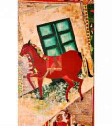Animals Oil Art Painting title 'khoya samya' by artist Deepali Mundra