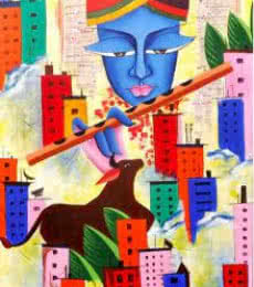 Figurative Acrylic Art Painting title 'Rhythm Of Life' by artist Deepali Mundra