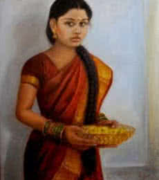 Vishalandra Dakur | Oil Painting title Girl With Pooja Flowers on Canvas | Artist Vishalandra Dakur Gallery | ArtZolo.com