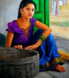 Figurative Oil Art Painting title 'Girl Selling Fruits' by artist Vishalandra Dakur