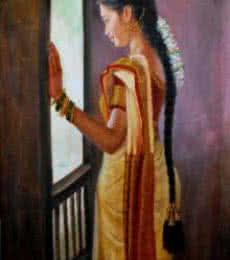 Figurative Oil Art Painting title 'Girl By Window' by artist Vishalandra Dakur