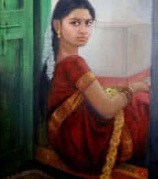 Figurative Oil Art Painting title 'Girl By Door' by artist Vishalandra Dakur