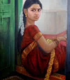 Girl By Door | Painting by artist Vishalandra Dakur | oil | Canvas