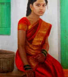 Girl On Rustic Bench | Painting by artist Vishalandra Dakur | oil | Canvas