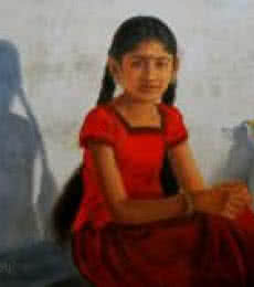 Figurative Oil Art Painting title 'Girl With Two Braids' by artist Vishalandra Dakur