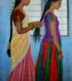 Figurative Oil Art Painting title 'Sisters' by artist Vishalandra Dakur