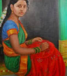 Girl Doing Embroidery | Painting by artist Vishalandra Dakur | oil | Canvas