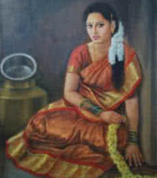 Figurative Oil Art Painting title 'Girl Sitting' by artist Vishalandra Dakur