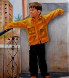 Figurative Oil Art Painting title Boy Playing by artist Vishalandra Dakur