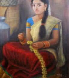 Vishalandra Dakur | Oil Painting title Girl With Flowers on Canvas | Artist Vishalandra Dakur Gallery | ArtZolo.com