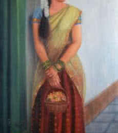 Girl To Temple | Painting by artist Vishalandra Dakur | oil | Canvas
