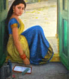 Figurative Oil Art Painting title Girl Dressing Up by artist Vishalandra Dakur