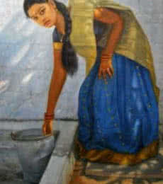 Figurative Oil Art Painting title Girl Washing by artist Vishalandra Dakur