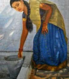 Girl Washing | Painting by artist Vishalandra Dakur | oil | Canvas