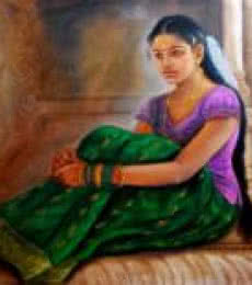 Girl At Temple | Painting by artist Vishalandra Dakur | oil | Canvas