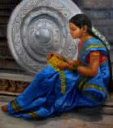 Figurative Oil Art Painting title 'Girl By Humpi Wheels' by artist Vishalandra Dakur
