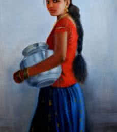 Figurative Oil Art Painting title '8Girl With Steel Pot' by artist Vishalandra Dakur