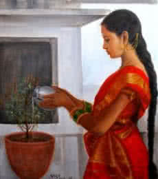 Figurative Oil Art Painting title 'Girl Doing Tulsi Pooja' by artist Vishalandra Dakur