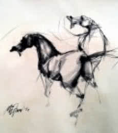 Animals Charcoal Art Drawing title Force by artist Mithun Dutta