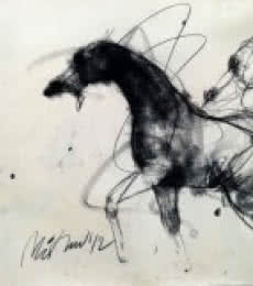 Animals Charcoal Art Drawing title 'Motion IX' by artist Mithun Dutta
