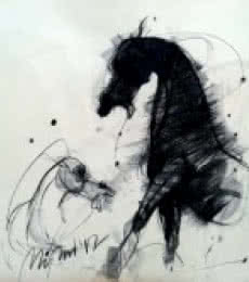 Animals Charcoal Art Drawing title 'Motion X' by artist Mithun Dutta
