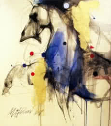 Mithun Dutta Paintings | Mixed-media Painting - Horse I by artist Mithun Dutta | ArtZolo.com