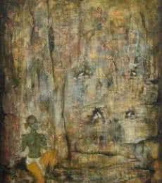 Krishna and the doves | Painting by artist Durshit Bhaskar | oil | Canvas