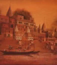 Landscape Oil Art Painting title BANARAS GHAT by artist Durshit Bhaskar