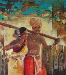 Expressionist Oil Art Painting title 'Contention' by artist Durshit Bhaskar