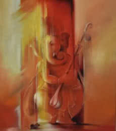 Durshit Bhaskar | Oil Painting title Ganesha Pitambara on Canvas | Artist Durshit Bhaskar Gallery | ArtZolo.com