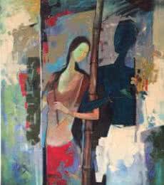 Radha and Krishna I   Painting by artist Durshit Bhaskar   mixed-media   Canvas