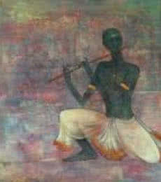Krishna Playing Flute | Painting by artist Durshit Bhaskar | mixed-media | Canvas