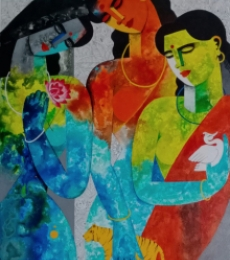Figurative Acrylic Art Painting title Brave Sisters by artist Appam Raghavendra