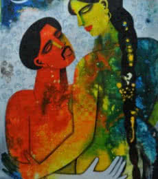 Figurative Acrylic Art Painting title Couple II by artist Appam Raghavendra