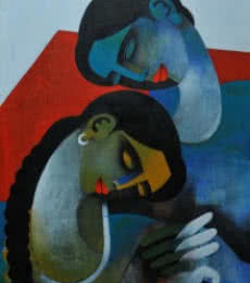 Figurative Acrylic Art Painting title Couple III by artist Appam Raghavendra