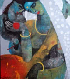 Appam Raghavendra | Acrylic Painting title Mother And Child on Canvasfigurative, acrylic, canvas, painting, art, | Artist Appam Raghavendra Gallery | ArtZolo.com