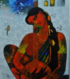 Figurative Acrylic Art Painting title 'Musician' by artist Appam Raghavendra