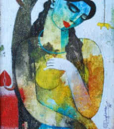 Nature With Woman | Painting by artist Appam Raghavendra | acrylic | Canvas