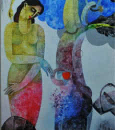 Appam Raghavendra | Acrylic Painting title Nature With Woman II on Canvas | Artist Appam Raghavendra Gallery | ArtZolo.com